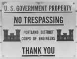 Corps of Engineers no trespassing sign