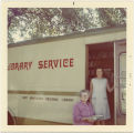 Marilynn Weaver on the bookmobile delivering books to Moffet Hot Springs in North Bonneville,...
