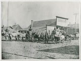 Marcus, Washington with several teams of horses and drivers in front of Wurzburg Store, circa 1900