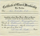 Clinton Ott, certificate of church membership. Cathlamet, Washington.