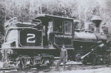 Saldern Logging Company locomotive #2 and engineer, 1899