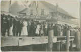 Crowd standing on Cathlamet pier