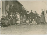 Cathlamet School, children and teachers, 1888