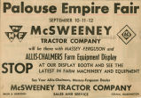 Advertisement clipping for the fair exhibit by the McSweeney Tractor Company