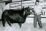 Gerald Vannice and his prime steer at the 1959 Palouse Empire Fair