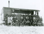 McGregor harvest crew and portable cook house, Hooper, Washington, 1928