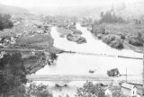 North Fork Palouse River and dam, Colfax, Washington, circa 1900