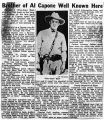 Newspaper article on brother of Al Capone, 1929