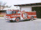 Donated government firetruck after fire station burned in 2000