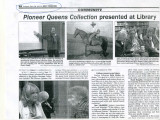 Pioneer Queens Collection presented at library, Roslyn, Washington, September 26, 2013