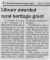 Library awarded rural heritage grant, Cathlamet, Washington, June 18, 2009