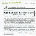 Off the shelf: library news [collection launch announcement from the Prosser Branch of...