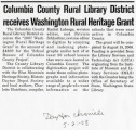 Columbia County Rural Library District receives Washington Rural Heritage Grant, Dayton, Columbia...