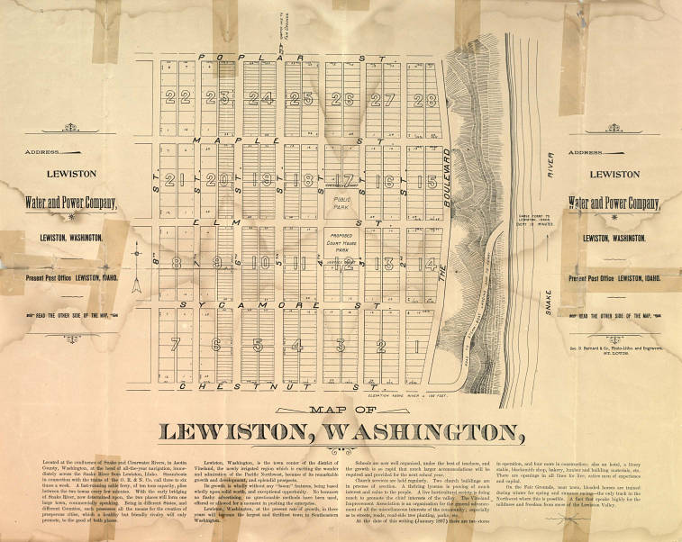 Plat Map Of Lewiston Washington Asotin County Heritage