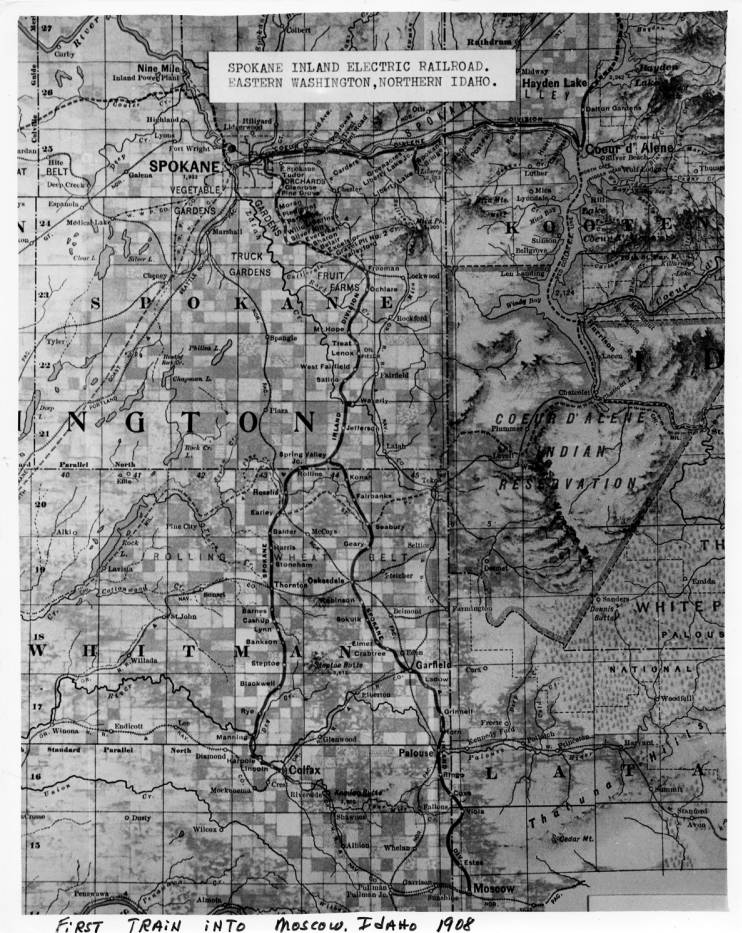 Map Of Spokane Inland Electric Railroad In Eastern Washington And