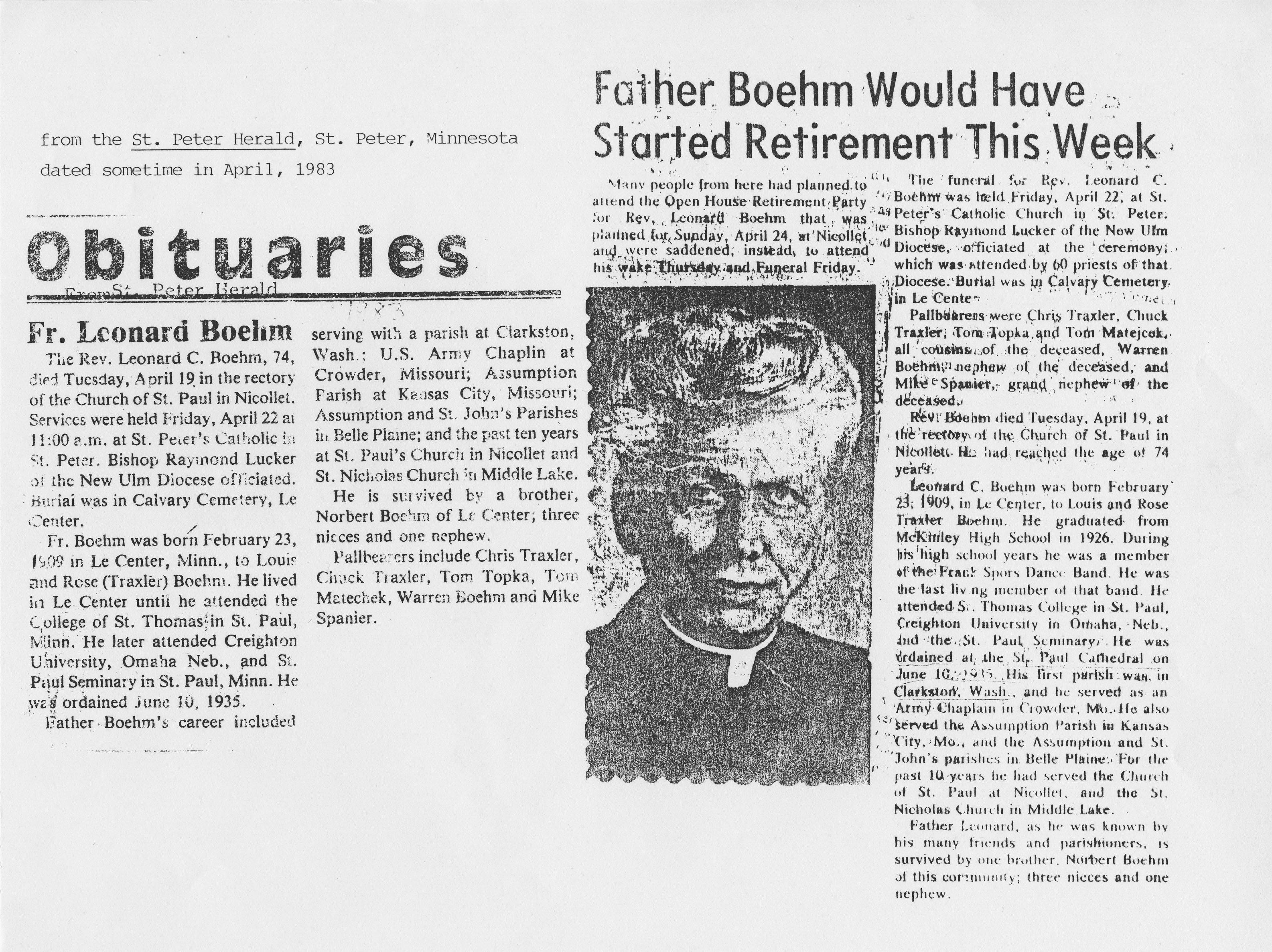Rev  Leonard Boehm Obituary, Clarkston, Washington, April